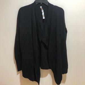 Lululemon Sz 6 Black Open Front Cardigan Sweater